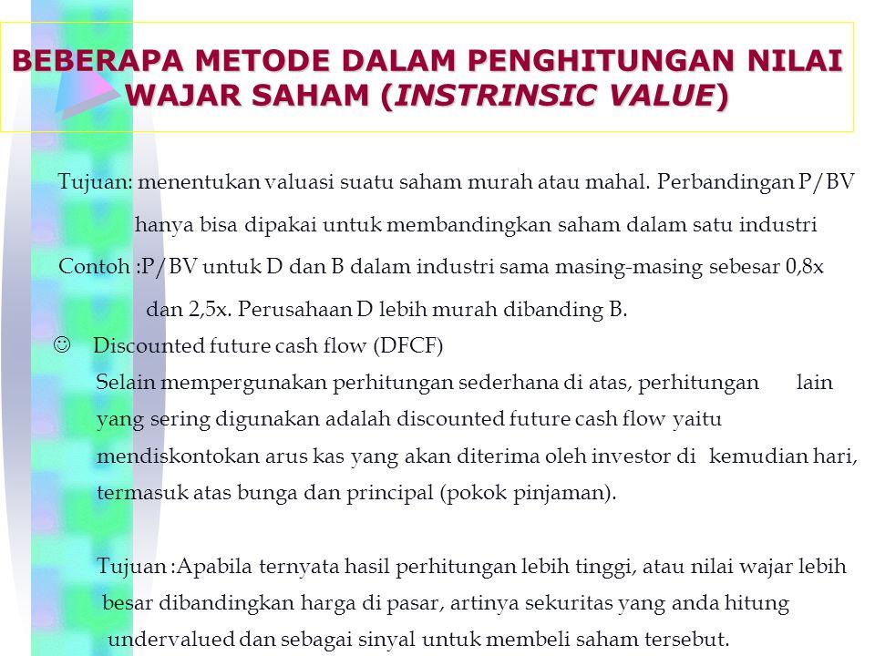 Tujuan: menentukan valuasi suatu saham murah atau mahal.