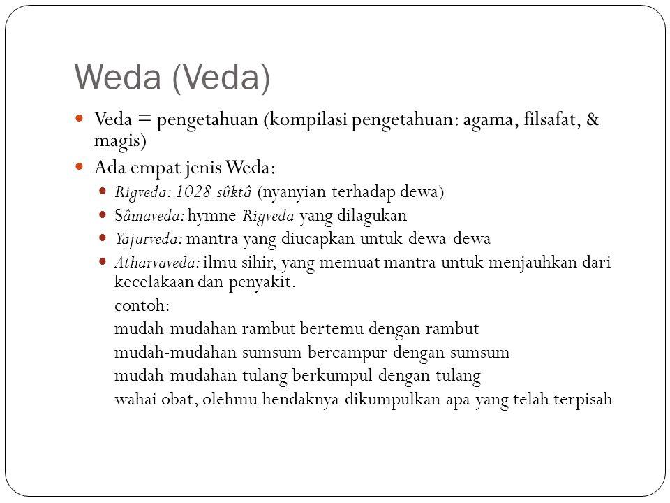 Weda (Veda) Veda = pengetahuan (kompilasi pengetahuan: agama, filsafat, & magis) Ada empat jenis Weda: Rigveda: 1028 sûktâ (nyanyian terhadap dewa) Sâ