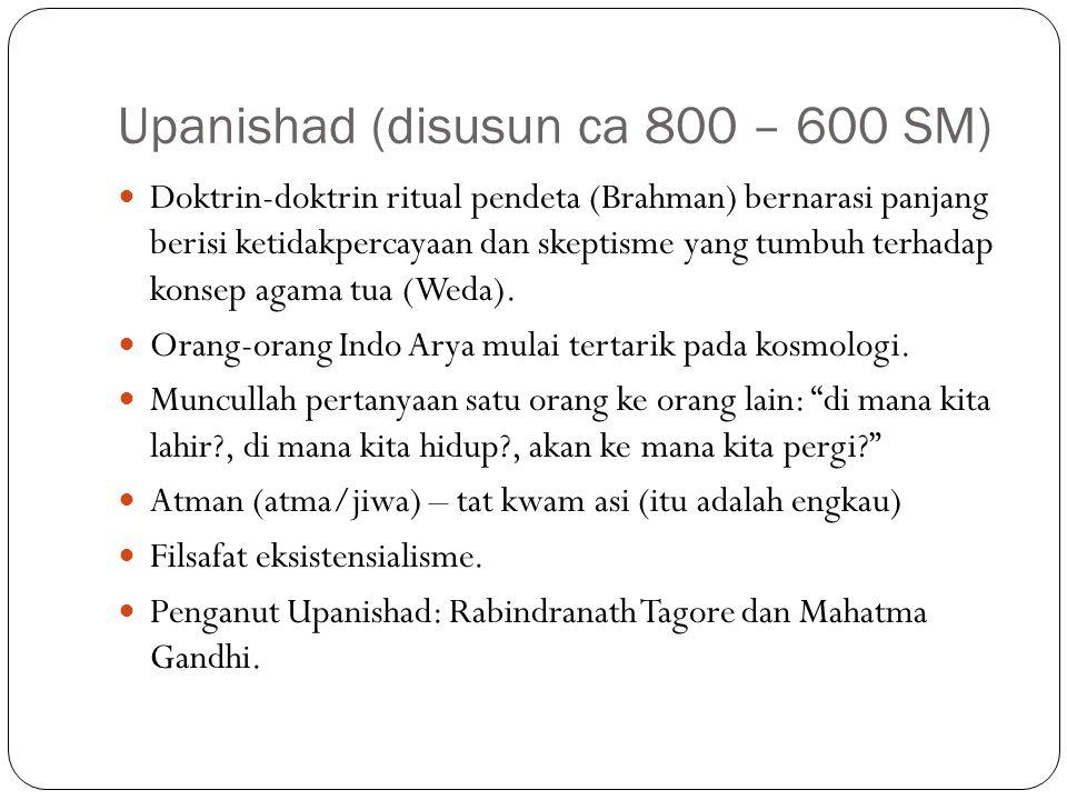 Upanishad (disusun ca 800 – 600 SM) Doktrin-doktrin ritual pendeta (Brahman) bernarasi panjang berisi ketidakpercayaan dan skeptisme yang tumbuh terha