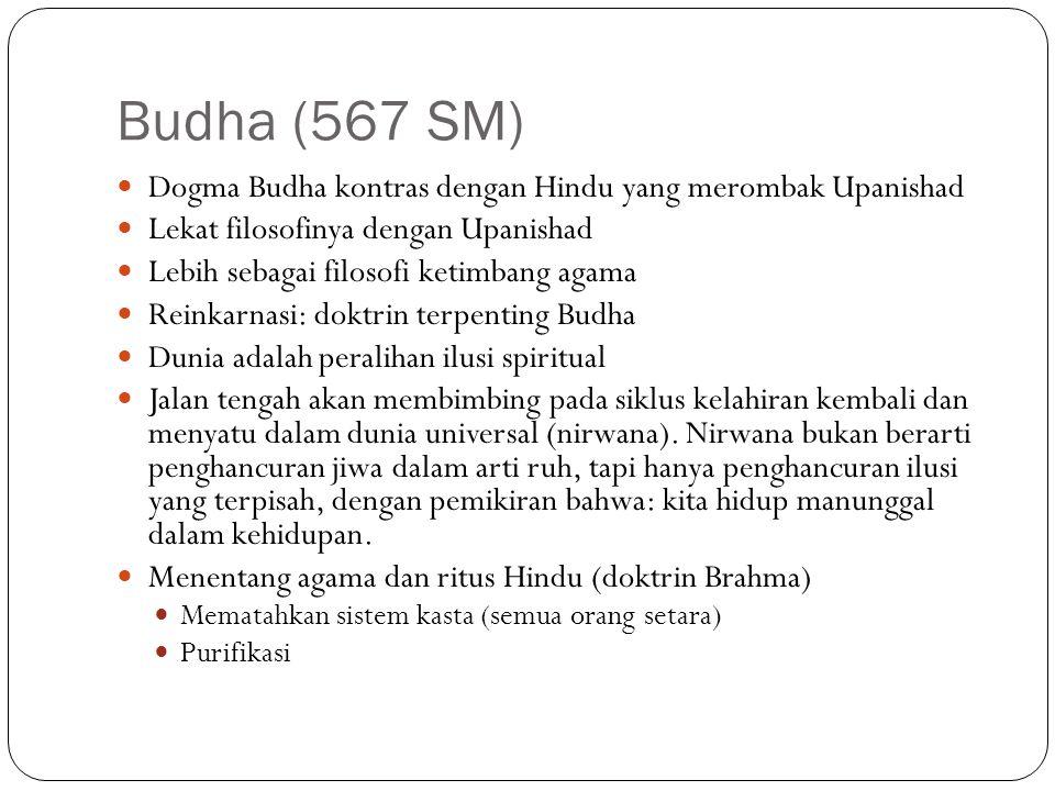 Budha (567 SM) Dogma Budha kontras dengan Hindu yang merombak Upanishad Lekat filosofinya dengan Upanishad Lebih sebagai filosofi ketimbang agama Rein
