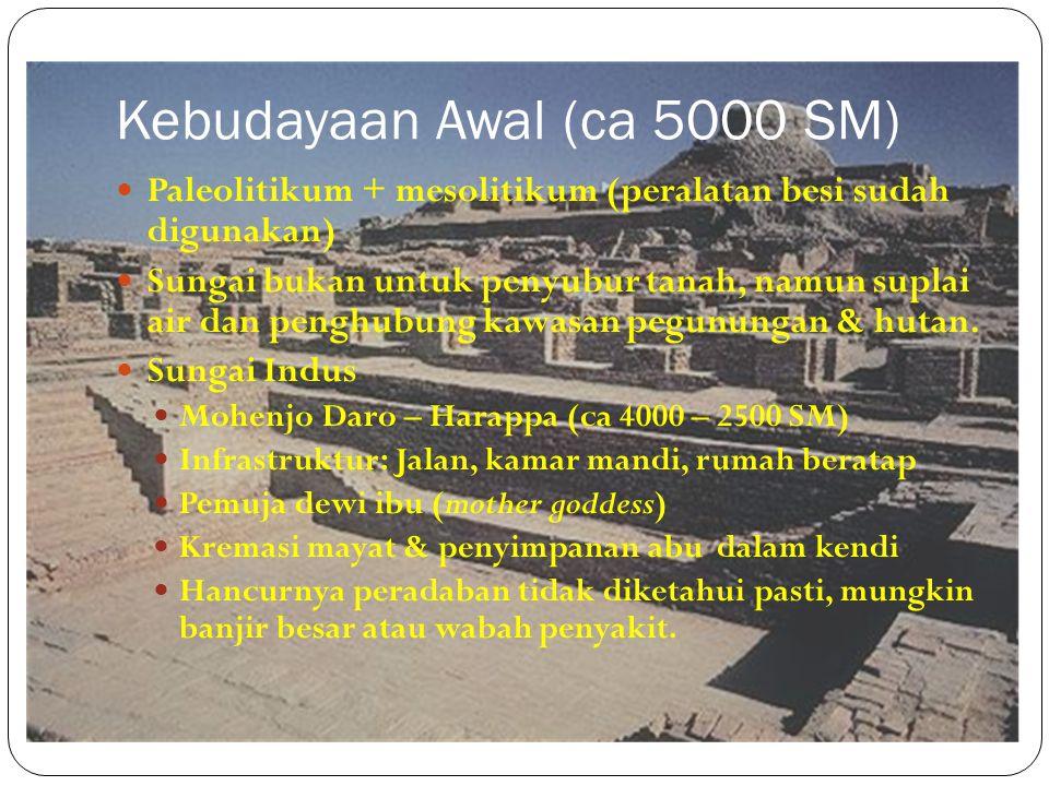 Kebudayaan Awal (ca 5000 SM) Paleolitikum + mesolitikum (peralatan besi sudah digunakan) Sungai bukan untuk penyubur tanah, namun suplai air dan pengh