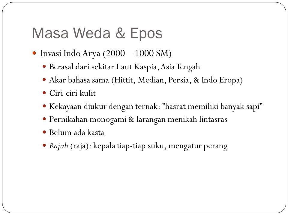 Masa Weda & Epos Invasi Indo Arya (2000 – 1000 SM) Berasal dari sekitar Laut Kaspia, Asia Tengah Akar bahasa sama (Hittit, Median, Persia, & Indo Erop