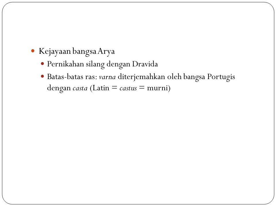 Kejayaan bangsa Arya Pernikahan silang dengan Dravida Batas-batas ras: varna diterjemahkan oleh bangsa Portugis dengan casta (Latin = castus = murni)