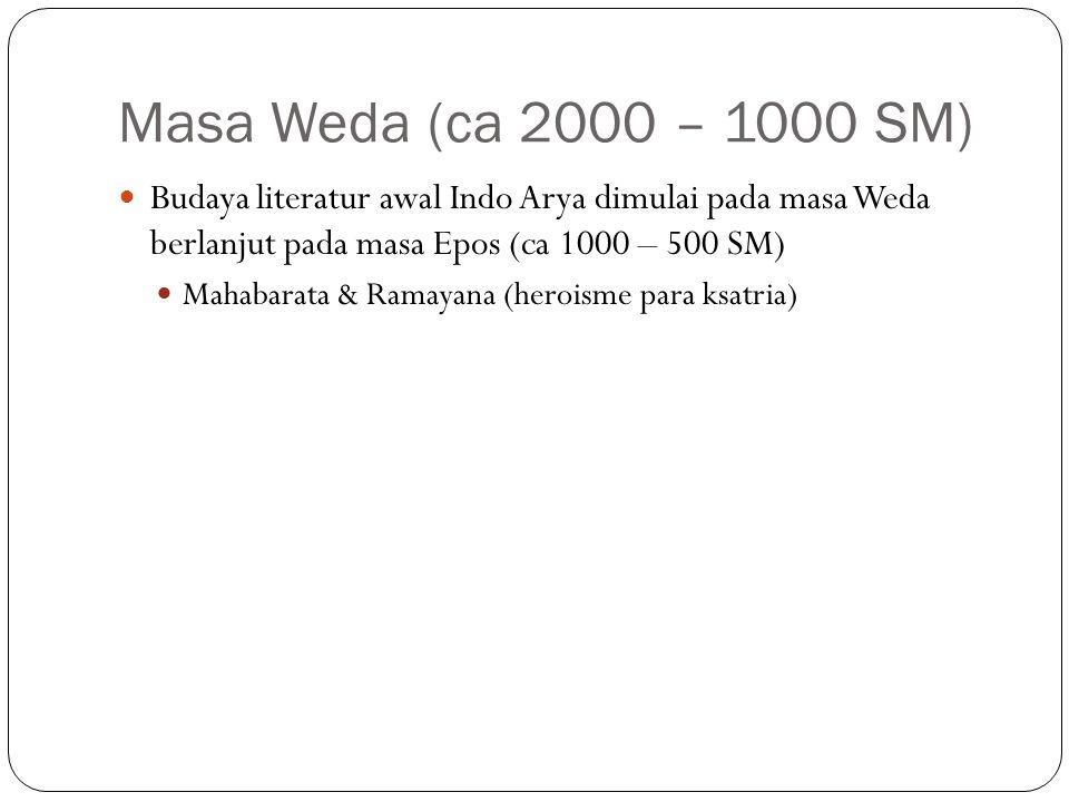 Masa Weda (ca 2000 – 1000 SM) Budaya literatur awal Indo Arya dimulai pada masa Weda berlanjut pada masa Epos (ca 1000 – 500 SM) Mahabarata & Ramayana