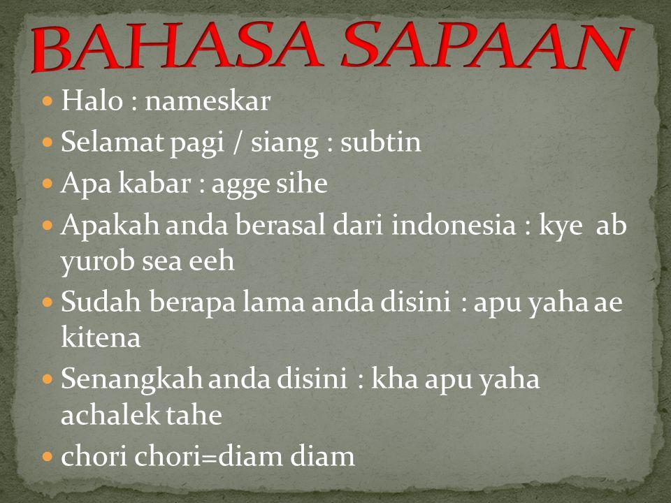 Halo : nameskar Selamat pagi / siang : subtin Apa kabar : agge sihe Apakah anda berasal dari indonesia : kye ab yurob sea eeh Sudah berapa lama anda d