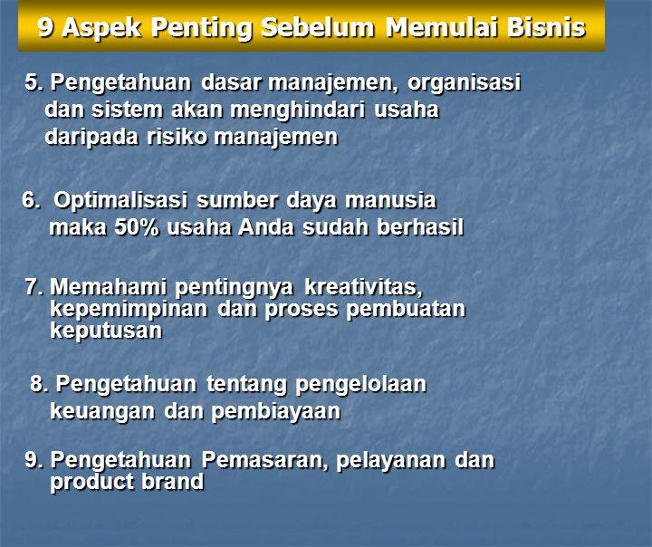 9 Aspek Penting Sebelum Memulai Bisnis 1.Memahami konsep produk atau jasa secara baik 2. Membuat visi dan misi bisnis 3. Perlunya winning, positive da