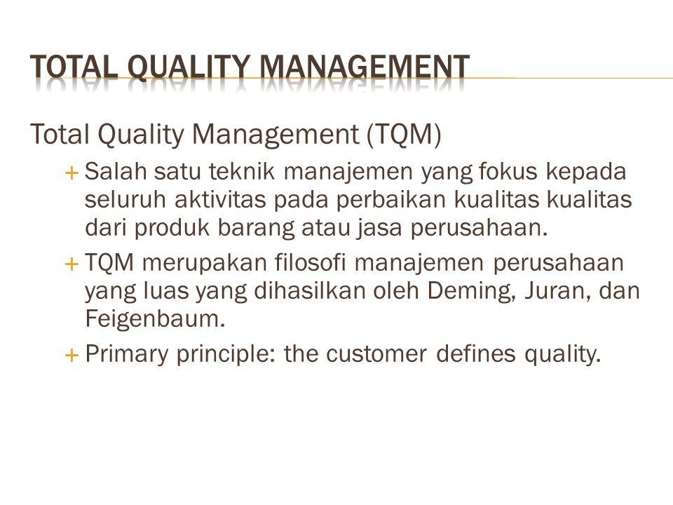 Total Quality Management (TQM)  Salah satu teknik manajemen yang fokus kepada seluruh aktivitas pada perbaikan kualitas kualitas dari produk barang atau jasa perusahaan.