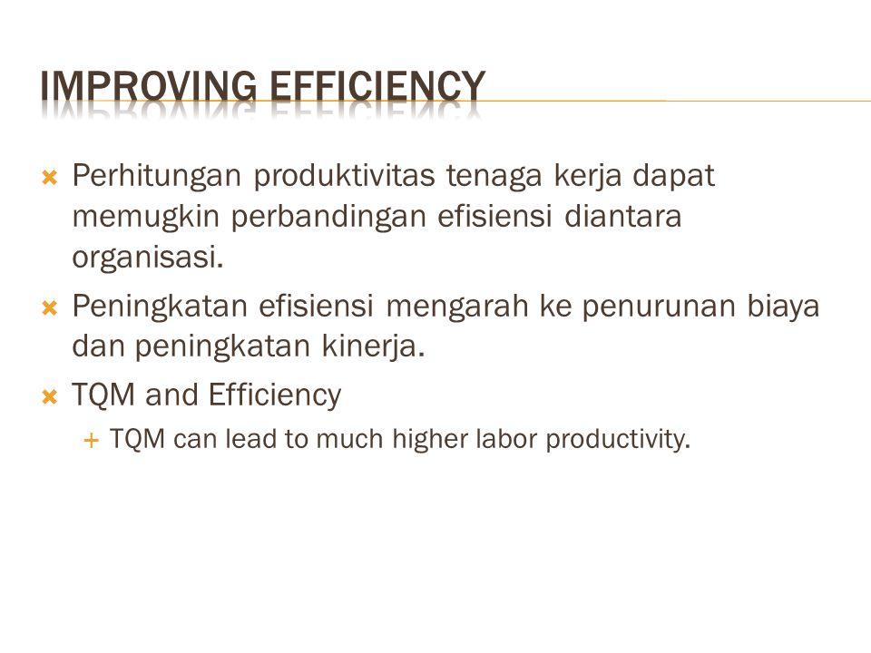  Perhitungan produktivitas tenaga kerja dapat memugkin perbandingan efisiensi diantara organisasi.  Peningkatan efisiensi mengarah ke penurunan biay