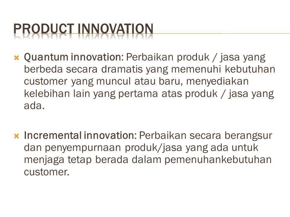  Quantum innovation: Perbaikan produk / jasa yang berbeda secara dramatis yang memenuhi kebutuhan customer yang muncul atau baru, menyediakan kelebihan lain yang pertama atas produk / jasa yang ada.