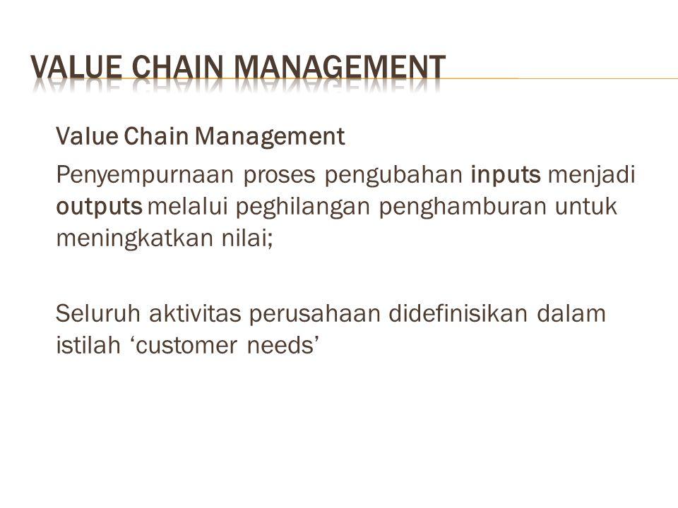 Value Chain Management Penyempurnaan proses pengubahan inputs menjadi outputs melalui peghilangan penghamburan untuk meningkatkan nilai; Seluruh aktivitas perusahaan didefinisikan dalam istilah 'customer needs'