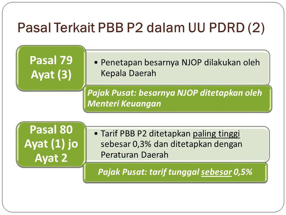 Pasal Terkait PBB P2 dalam UU PDRD (2) Penetapan besarnya NJOP dilakukan oleh Kepala Daerah Pasal 79 Ayat (3) Pajak Pusat: besarnya NJOP ditetapkan ol