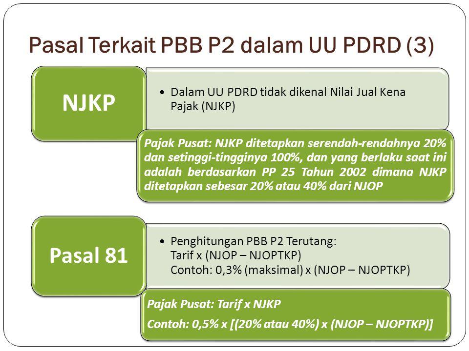 Pasal Terkait PBB P2 dalam UU PDRD (3) Dalam UU PDRD tidak dikenal Nilai Jual Kena Pajak (NJKP) NJKP Pajak Pusat: NJKP ditetapkan serendah-rendahnya 2