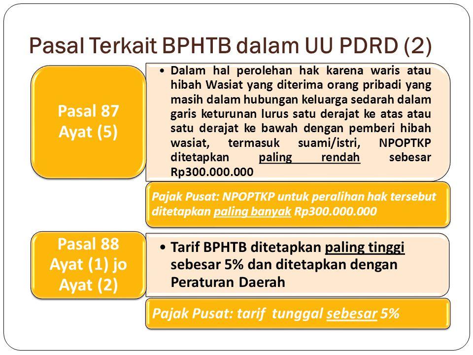 Pasal Terkait BPHTB dalam UU PDRD (2) Dalam hal perolehan hak karena waris atau hibah Wasiat yang diterima orang pribadi yang masih dalam hubungan kel