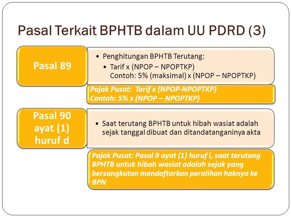 Pasal Terkait BPHTB dalam UU PDRD (3) Penghitungan BPHTB Terutang: Tarif x (NPOP – NPOPTKP) Contoh: 5% (maksimal) x (NPOP – NPOPTKP) Pasal 89 Pajak Pu