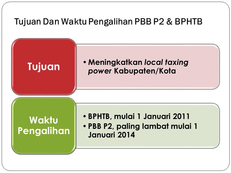 Tujuan Dan Waktu Pengalihan PBB P2 & BPHTB Meningkatkan local taxing power Kabupaten/Kota Tujuan BPHTB, mulai 1 Januari 2011 PBB P2, paling lambat mul