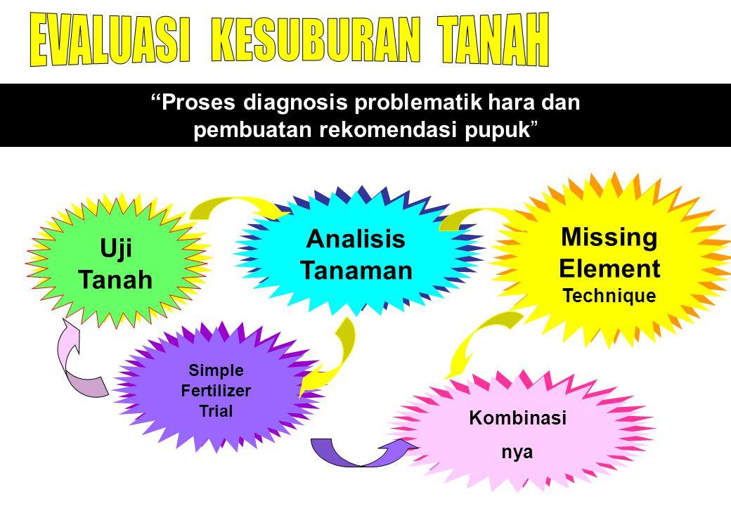 """""""Proses diagnosis problematik hara dan pembuatan rekomendasi pupuk"""" Uji Tanah Analisis Tanaman Missing Element Technique Simple Fertilizer Trial Kombi"""