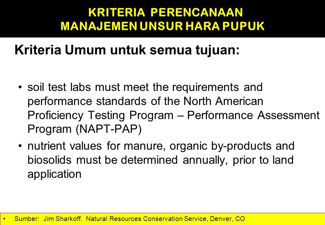 Kriteria Umum untuk semua tujuan: soil test labs must meet the requirements and performance standards of the North American Proficiency Testing Progra