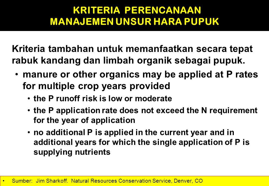 Kriteria tambahan untuk memanfaatkan secara tepat rabuk kandang dan limbah organik sebagai pupuk. manure or other organics may be applied at P rates f