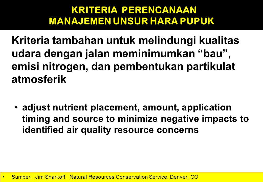 """Kriteria tambahan untuk melindungi kualitas udara dengan jalan meminimumkan """"bau"""", emisi nitrogen, dan pembentukan partikulat atmosferik adjust nutrie"""