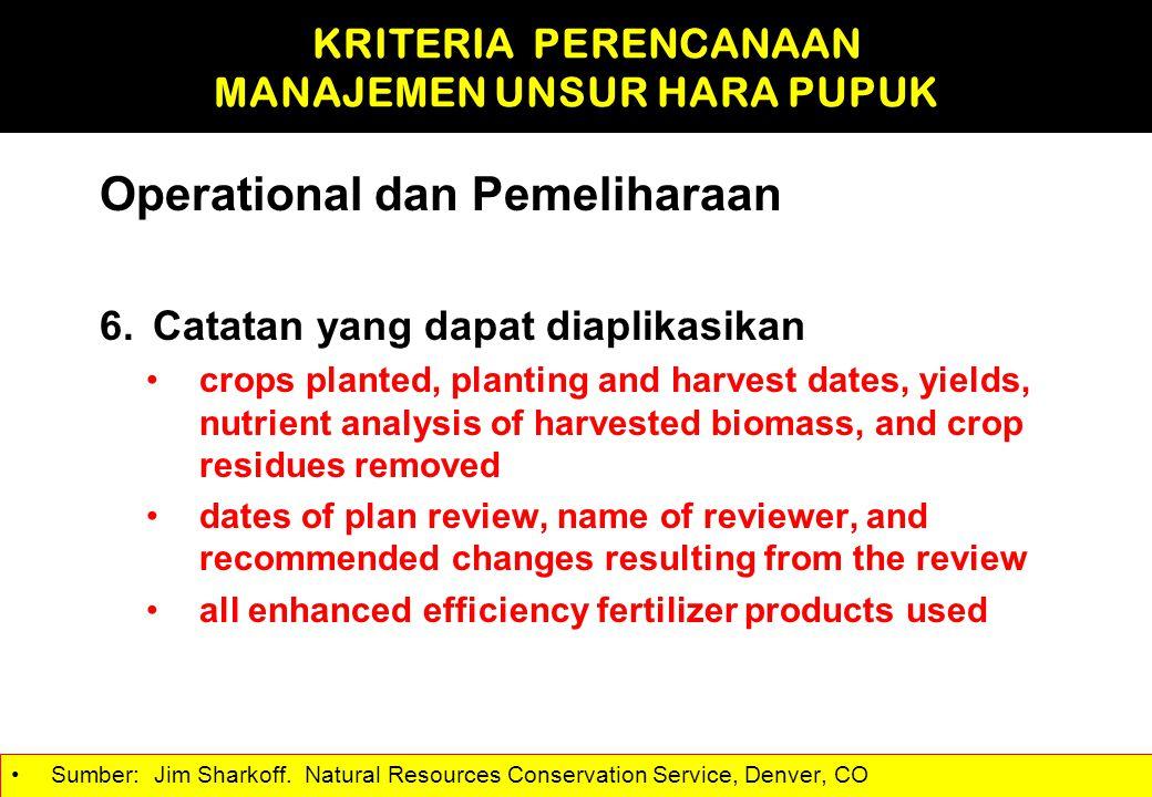 Operational dan Pemeliharaan 6.Catatan yang dapat diaplikasikan crops planted, planting and harvest dates, yields, nutrient analysis of harvested biom
