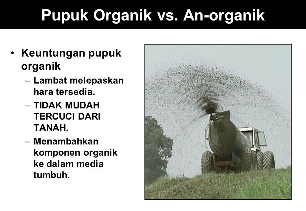 Pupuk Organik vs. An-organik Keuntungan pupuk organik –Lambat melepaskan hara tersedia. –TIDAK MUDAH TERCUCI DARI TANAH. –Menambahkan komponen organik