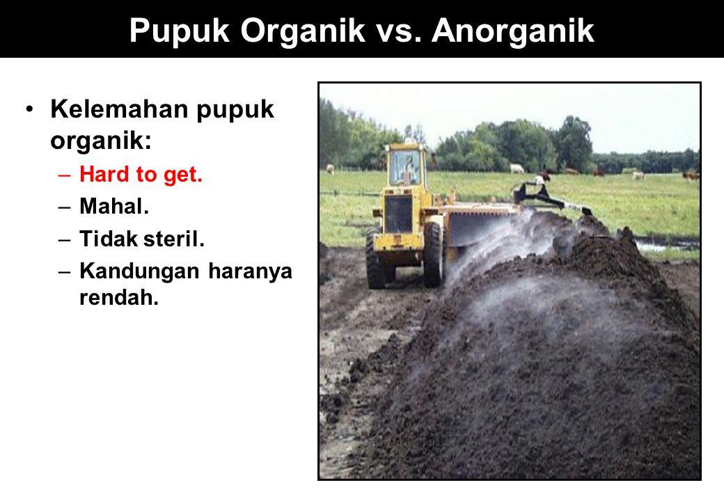 Pupuk Organik vs. Anorganik Kelemahan pupuk organik: –Hard to get. –Mahal. –Tidak steril. –Kandungan haranya rendah.