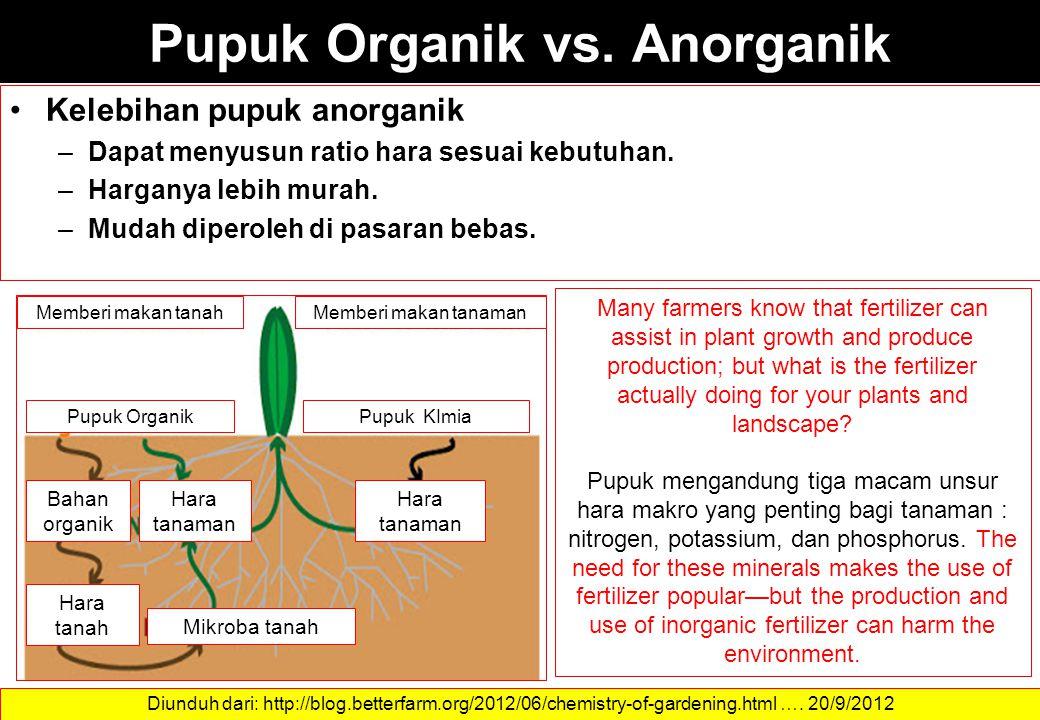 Pupuk Organik vs. Anorganik Kelebihan pupuk anorganik –Dapat menyusun ratio hara sesuai kebutuhan. –Harganya lebih murah. –Mudah diperoleh di pasaran