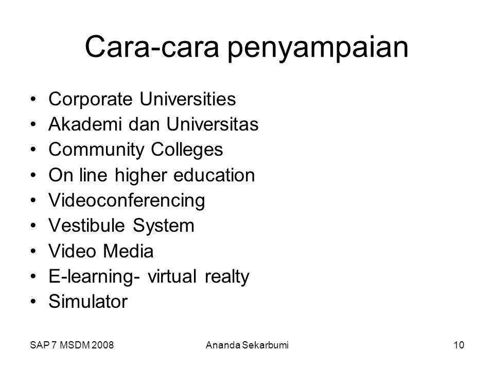 SAP 7 MSDM 2008Ananda Sekarbumi10 Cara-cara penyampaian Corporate Universities Akademi dan Universitas Community Colleges On line higher education Videoconferencing Vestibule System Video Media E-learning- virtual realty Simulator