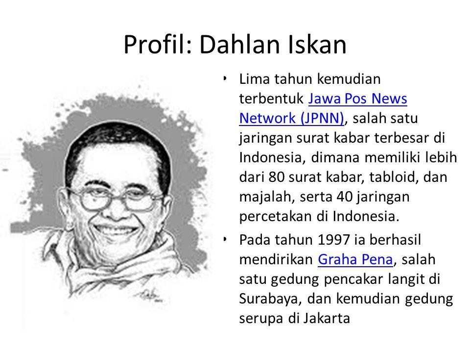 Profil: Dahlan Iskan Lima tahun kemudian terbentuk Jawa Pos News Network (JPNN), salah satu jaringan surat kabar terbesar di Indonesia, dimana memilik