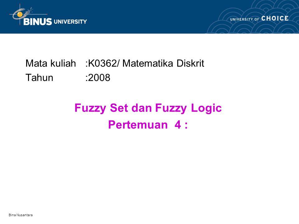 Bina Nusantara Penjelasan Contoh Dari tabel terlihat bahwa usia 60 masuk dalam anggota fuzzy set Tua dengan tingkat keanggotaan 0,8 dan juga masuk dalam fuzzy set Dewasa dengan tingkat keanggotaan 1, tetapi bukan anggota fuzzy set Bayi dan fuzzy set Muda.