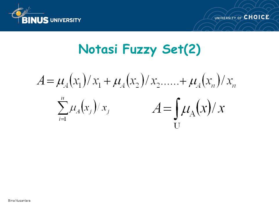 Bina Nusantara Notasi Fuzzy Set, NOTASI FUZZY SET : Untuk menuliskan fuzzy set berbeda dengan cisp set, sebab anggota dari fuzzy set mempunyai tingkat