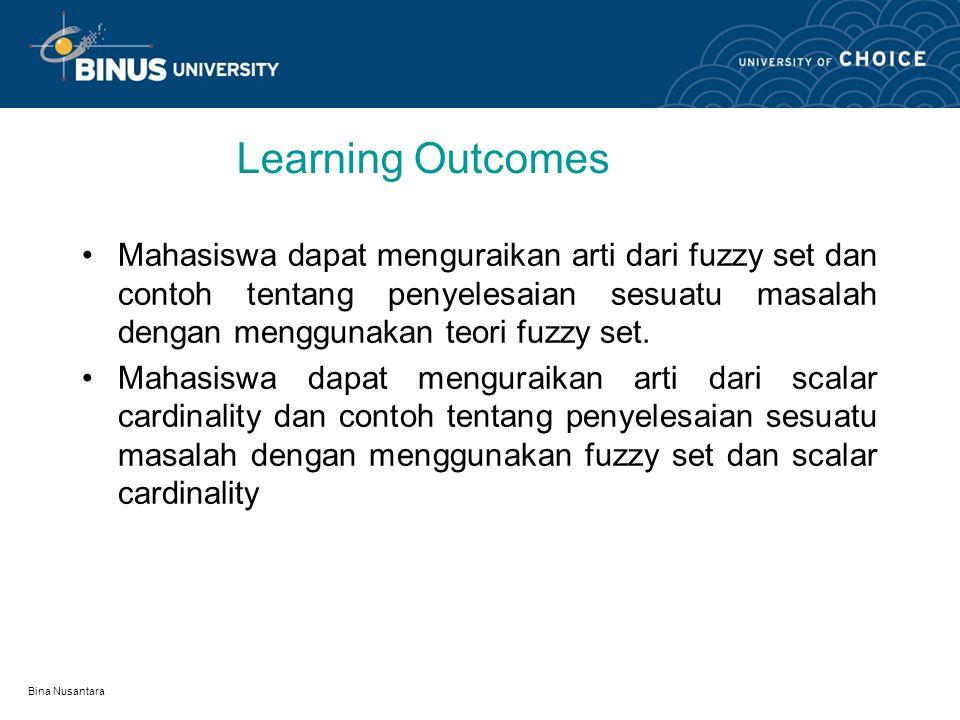 Bina Nusantara Learning Outcomes Mahasiswa dapat menguraikan arti dari fuzzy set dan contoh tentang penyelesaian sesuatu masalah dengan menggunakan teori fuzzy set.