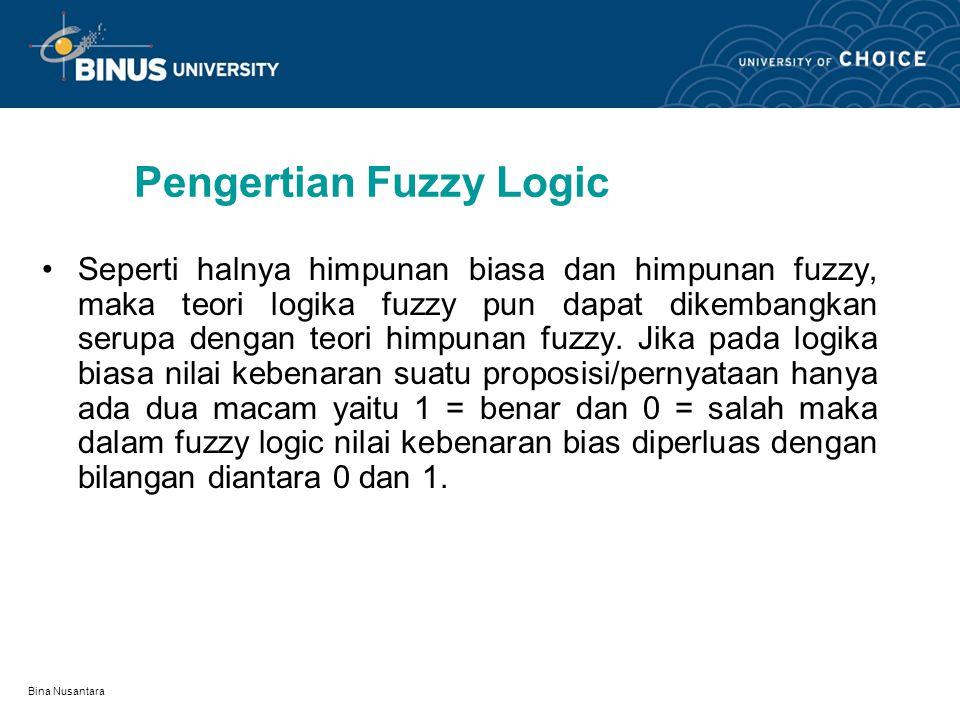 Bina Nusantara Operasi Fuzzy Set(4) GABUNGAN DUA FUZZY SET : Union dari fuzzy set A dan B adalh fuzzy set A  B, dengan fungsi keanggotaan : Derajat k
