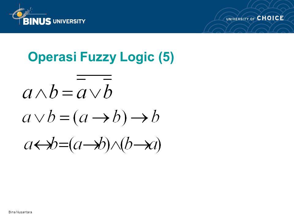 Bina Nusantara Operasi Fuzzy Logic (4) LOGICAL EQUIVALENCE DUA PROPOSISI FUZZY : Dua proposisi pada fuzzy logic adalah logical equivalence bila keduan