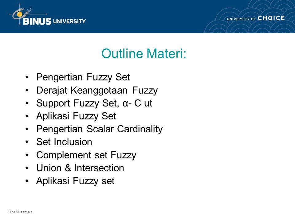 Bina Nusantara Learning Outcomes Mahasiswa dapat menguraikan arti dari fuzzy set dan contoh tentang penyelesaian sesuatu masalah dengan menggunakan te