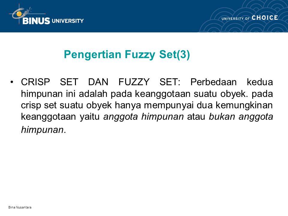 Bina Nusantara Scalar Cardinality SCALAR CARDINALITY : Scalar Cardinality dari fuzzy set A dalam universal set X adalah jumlah derajat keanggotaan semua unsur X dalam A, notasi : Pada tabel terdahulu, yaitu fuzzy set usia maka kita dapatkan |Bayi| = 0