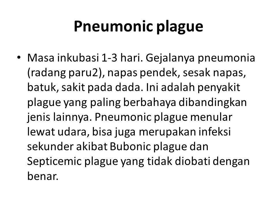 Pneumonic plague Masa inkubasi 1-3 hari.