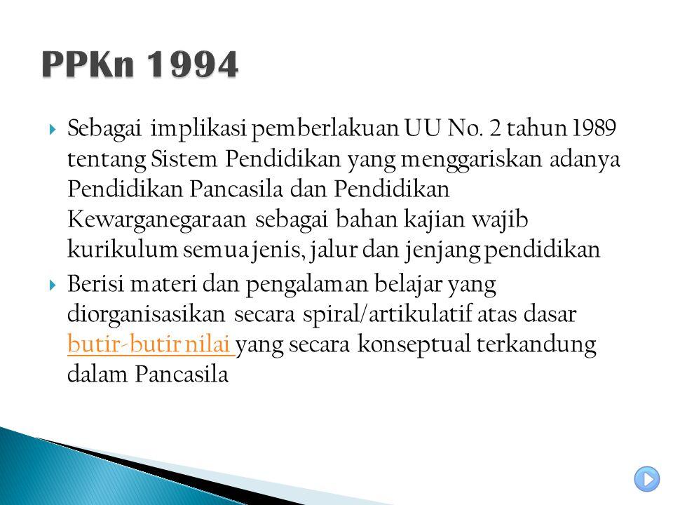  Sebagai implikasi pemberlakuan UU No. 2 tahun 1989 tentang Sistem Pendidikan yang menggariskan adanya Pendidikan Pancasila dan Pendidikan Kewarganeg