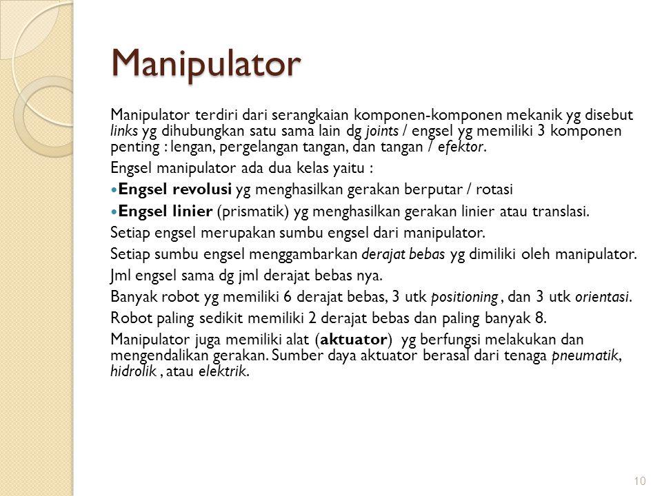 Manipulator Manipulator terdiri dari serangkaian komponen-komponen mekanik yg disebut links yg dihubungkan satu sama lain dg joints / engsel yg memili
