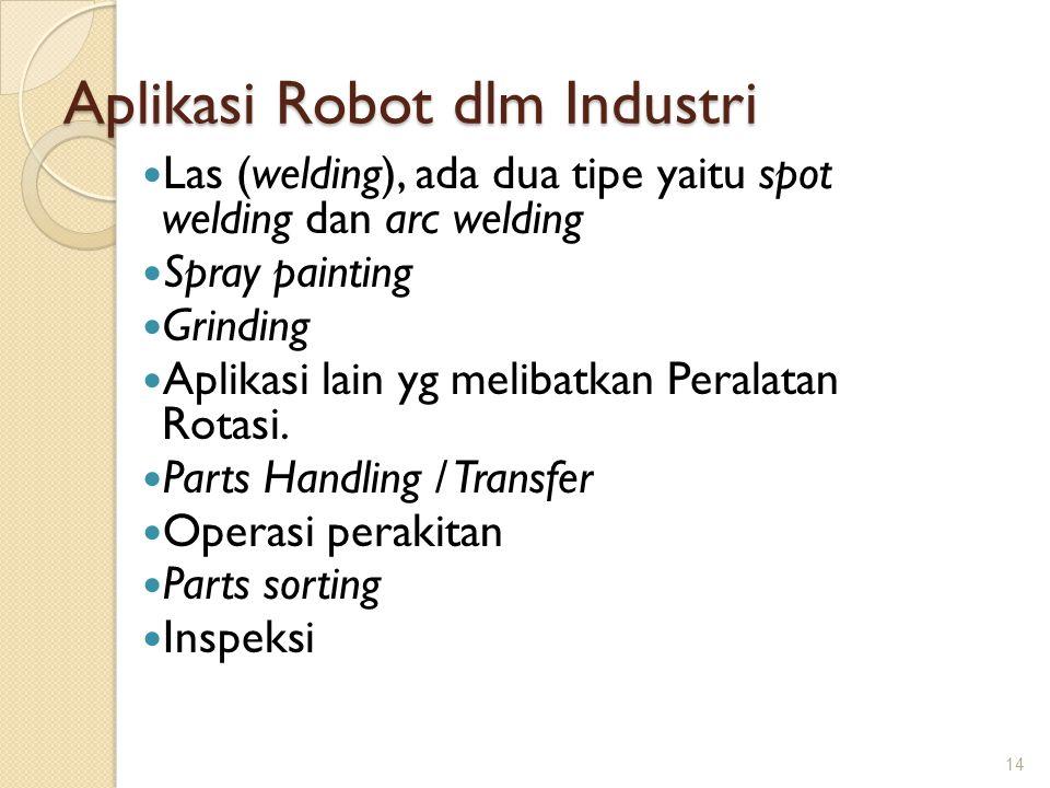 Aplikasi Robot dlm Industri Las (welding), ada dua tipe yaitu spot welding dan arc welding Spray painting Grinding Aplikasi lain yg melibatkan Peralat
