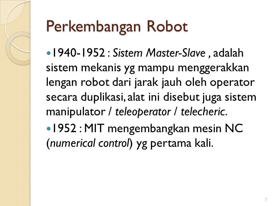 Perkembangan Robot 1940-1952 : Sistem Master-Slave, adalah sistem mekanis yg mampu menggerakkan lengan robot dari jarak jauh oleh operator secara dupl