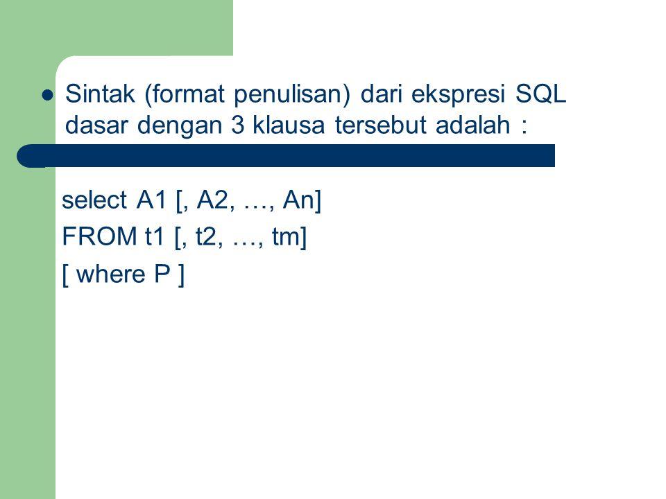 Sintak (format penulisan) dari ekspresi SQL dasar dengan 3 klausa tersebut adalah : select A1 [, A2, …, An] FROM t1 [, t2, …, tm] [ where P ]