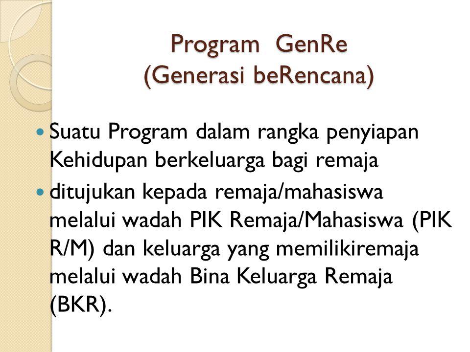 Tujuan Program GenRe Menciptakan Generasi Berencana, yaitu remaja dengan ciri-ciri sbb: 1.