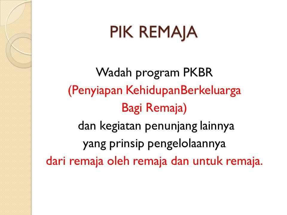 PIK REMAJA Wadah program PKBR (Penyiapan KehidupanBerkeluarga Bagi Remaja) dan kegiatan penunjang lainnya yang prinsip pengelolaannya dari remaja oleh
