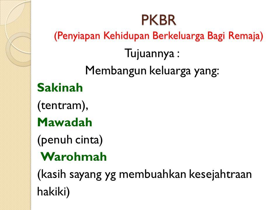 PKBR (Penyiapan Kehidupan Berkeluarga Bagi Remaja) Tujuannya : Membangun keluarga yang: Sakinah (tentram), Mawadah (penuh cinta) Warohmah (kasih sayan
