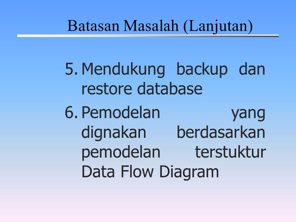5.Mendukung backup dan restore database 6.Pemodelan yang dignakan berdasarkan pemodelan terstuktur Data Flow Diagram Batasan Masalah (Lanjutan)