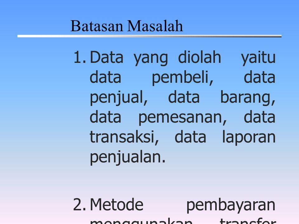 1.Data yang diolah yaitu data pembeli, data penjual, data barang, data pemesanan, data transaksi, data laporan penjualan. 2.Metode pembayaran mengguna
