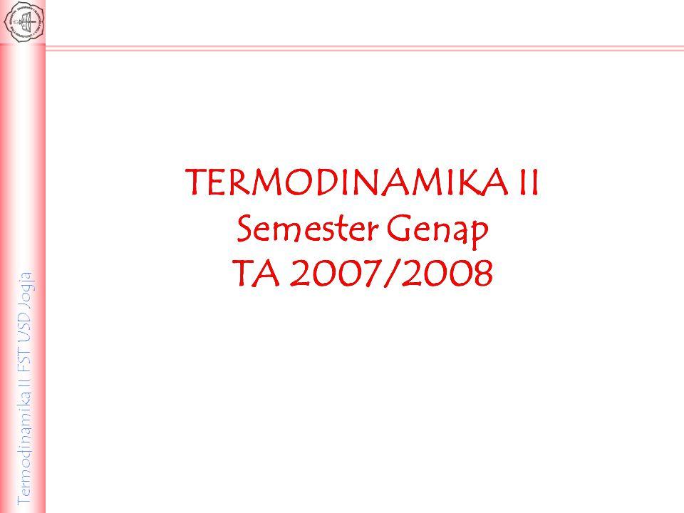 Termodinamika II FST USD Jogja TERMODINAMIKA II Semester Genap TA 2007/2008 TERMODINAMIKA II Semester Genap TA 2007/2008