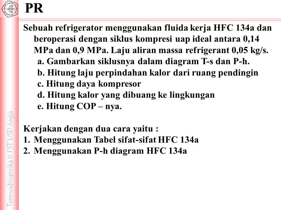 Termodinamika II FST USD Jogja PR Sebuah refrigerator menggunakan fluida kerja HFC 134a dan beroperasi dengan siklus kompresi uap ideal antara 0,14 MP