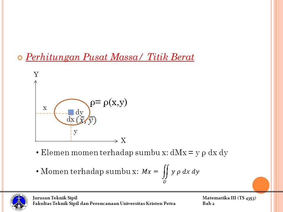 Perhitungan Pusat Massa/ Titik Berat Elemen momen terhadap sumbu x: dMx = y ρ dx dy Momen terhadap sumbu x: Jurusan Teknik SipilMatematika III (TS 4353) Fakultas Teknik Sipil dan Perencanaan Universitas Kristen PetraBab 2 dy dx ρ= ρ(x,y) X Y y x